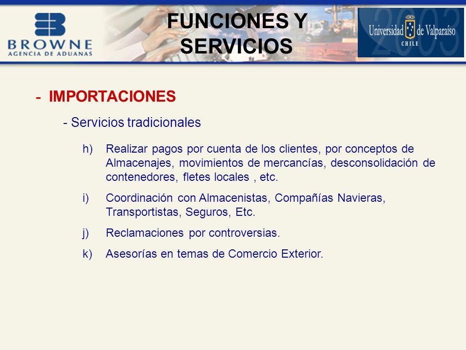 FUNCIONES Y SERVICIOS - IMPORTACIONES - Servicios tradicionales