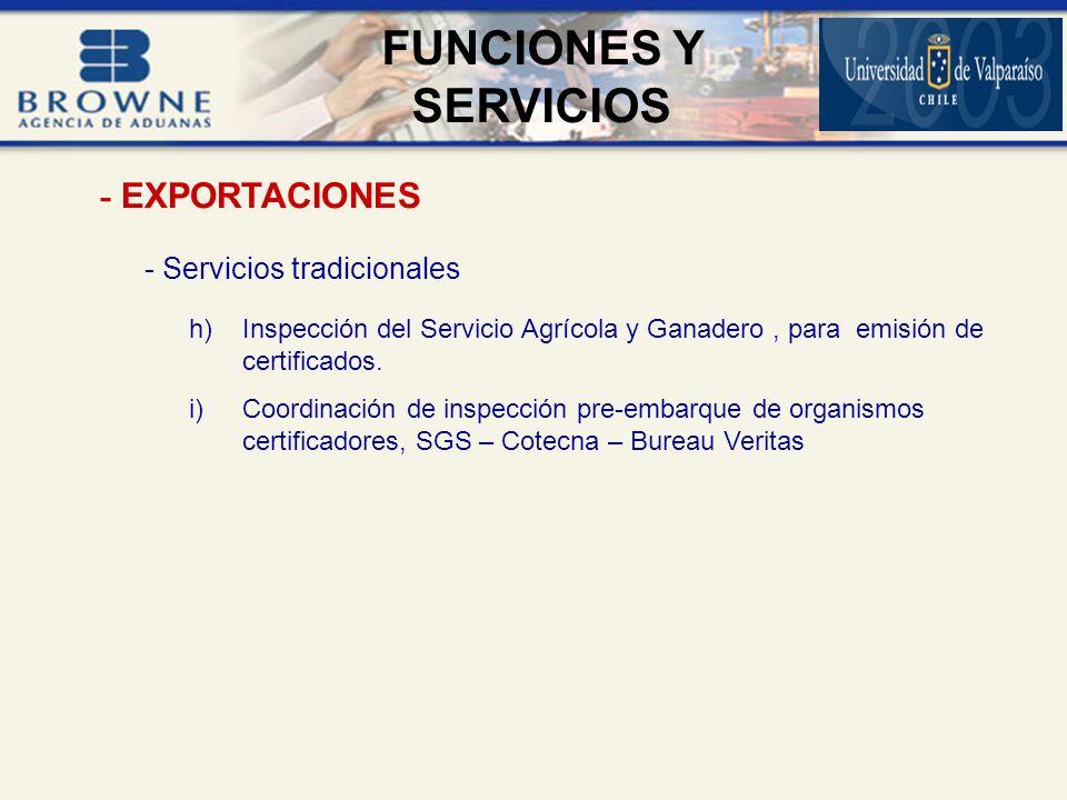 FUNCIONES Y SERVICIOS - EXPORTACIONES - Servicios tradicionales