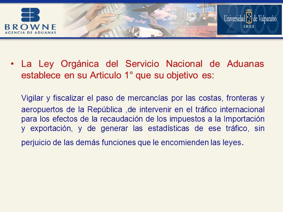 La Ley Orgánica del Servicio Nacional de Aduanas establece en su Articulo 1° que su objetivo es: