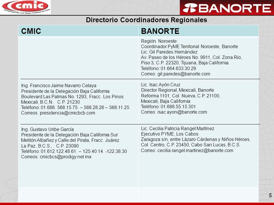 CMIC BANORTE Directorio Coordinadores Regionales Región Noroeste: