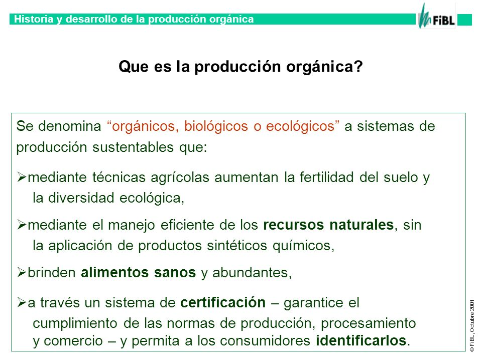 Que es la producción orgánica
