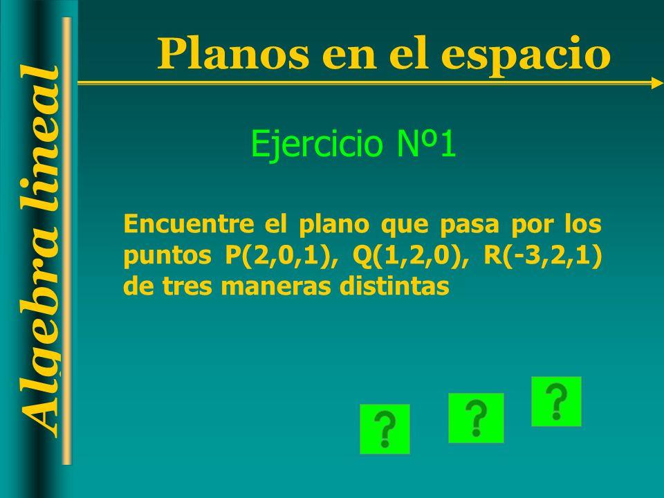 Ejercicio Nº1 Encuentre el plano que pasa por los puntos P(2,0,1), Q(1,2,0), R(-3,2,1) de tres maneras distintas.