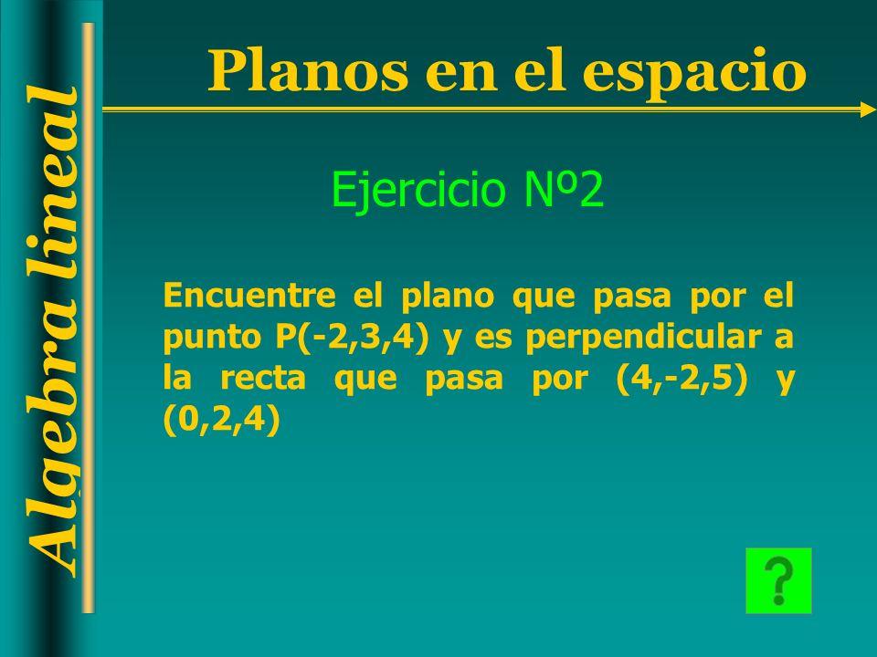 Ejercicio Nº2 Encuentre el plano que pasa por el punto P(-2,3,4) y es perpendicular a la recta que pasa por (4,-2,5) y (0,2,4)