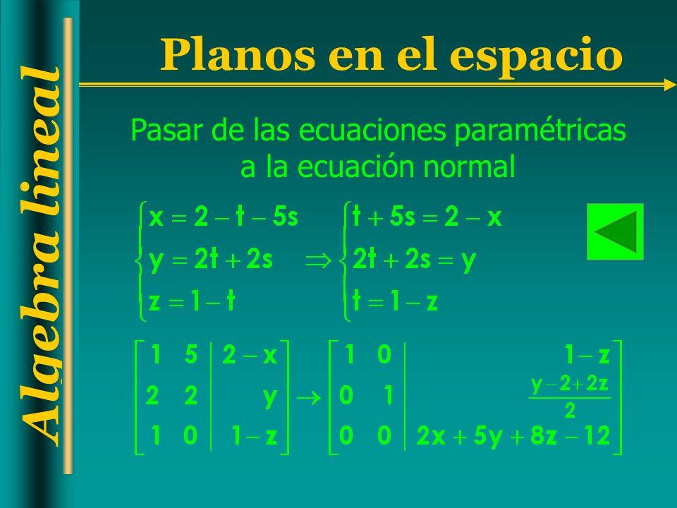 Pasar de las ecuaciones paramétricas a la ecuación normal
