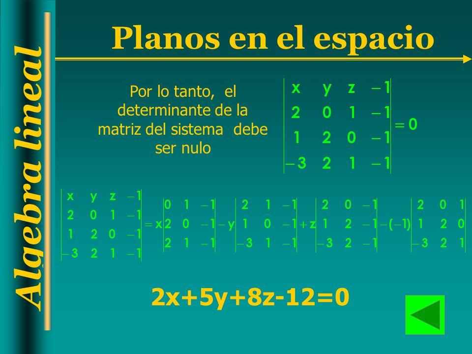 Por lo tanto, el determinante de la matriz del sistema debe ser nulo