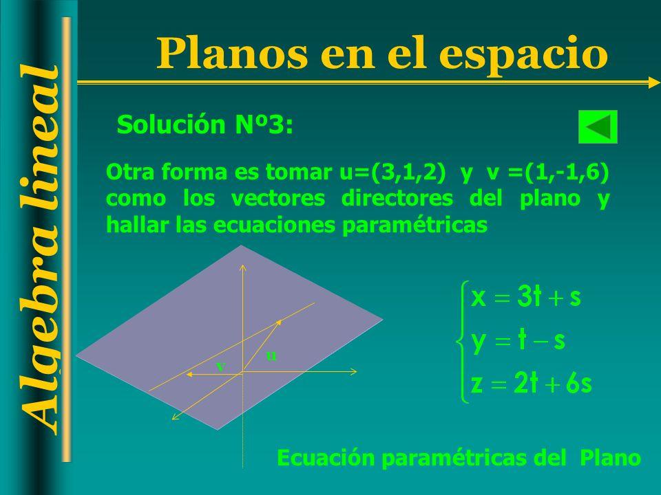 Solución Nº3: Otra forma es tomar u=(3,1,2) y v =(1,-1,6) como los vectores directores del plano y hallar las ecuaciones paramétricas.