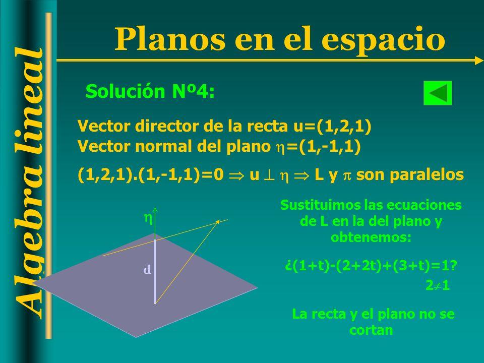 Solución Nº4: Vector director de la recta u=(1,2,1)