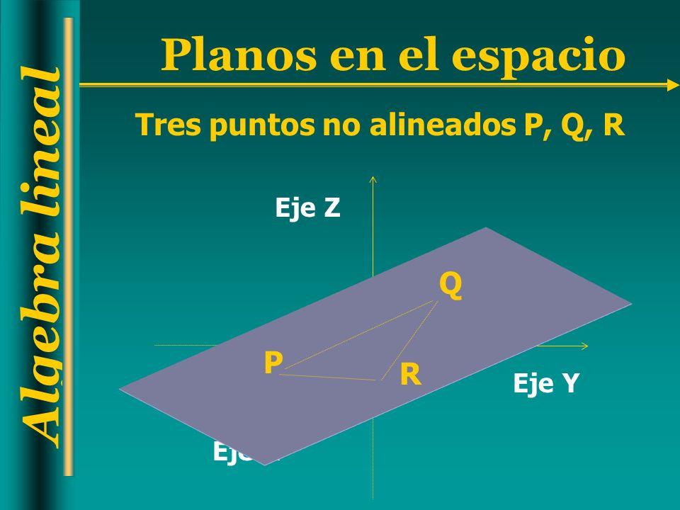 Tres puntos no alineados P, Q, R