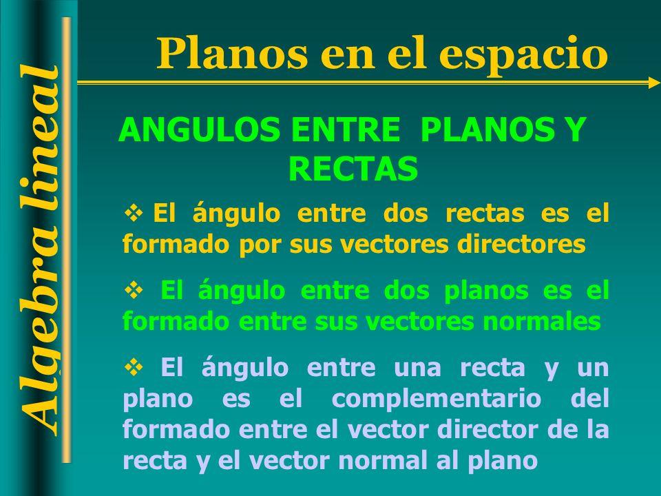 ANGULOS ENTRE PLANOS Y RECTAS