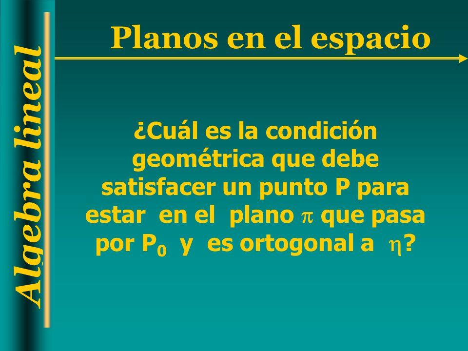 ¿Cuál es la condición geométrica que debe satisfacer un punto P para estar en el plano  que pasa por P0 y es ortogonal a 