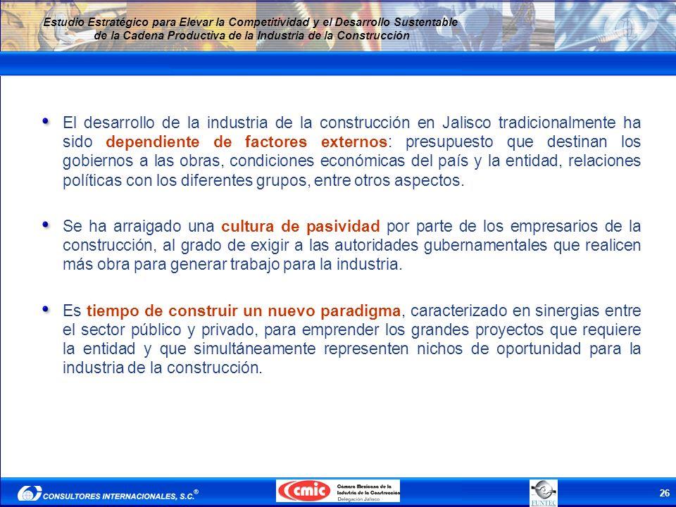 El desarrollo de la industria de la construcción en Jalisco tradicionalmente ha sido dependiente de factores externos: presupuesto que destinan los gobiernos a las obras, condiciones económicas del país y la entidad, relaciones políticas con los diferentes grupos, entre otros aspectos.