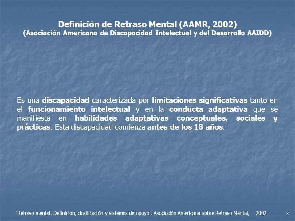 Definición de Retraso Mental (AAMR, 2002)