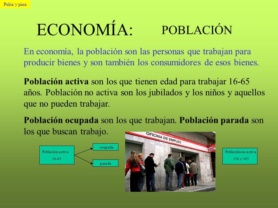 Pulsa y pasa ECONOMÍA: POBLACIÓN.