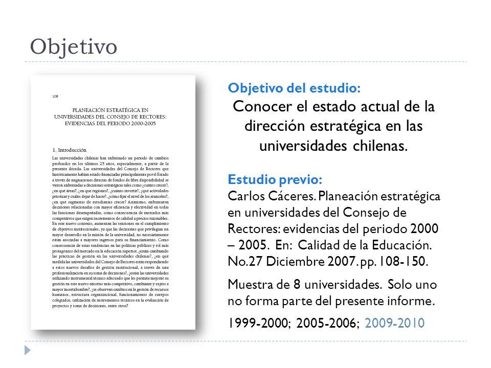 Objetivo Objetivo del estudio: Conocer el estado actual de la dirección estratégica en las universidades chilenas.