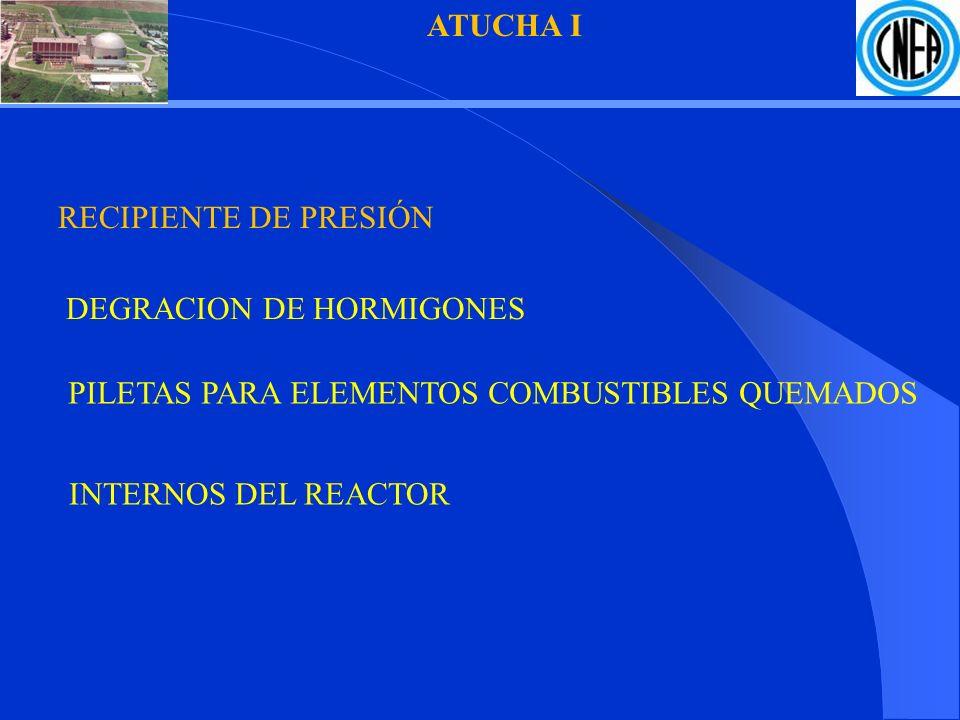 ATUCHA I RECIPIENTE DE PRESIÓN. DEGRACION DE HORMIGONES. PILETAS PARA ELEMENTOS COMBUSTIBLES QUEMADOS.