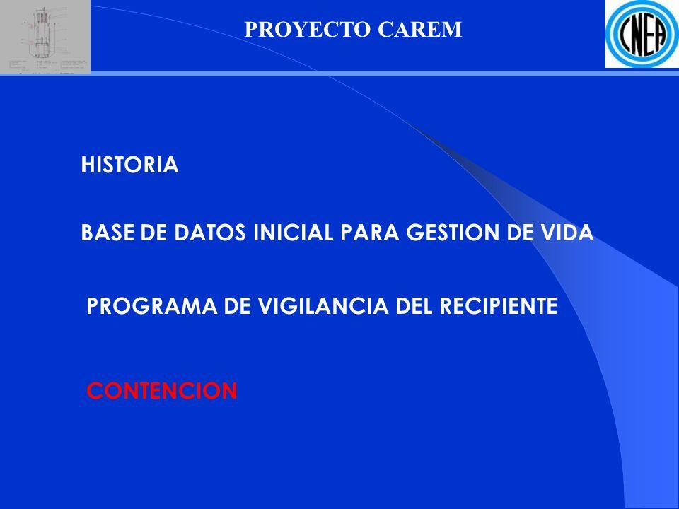 PROYECTO CAREM HISTORIA. BASE DE DATOS INICIAL PARA GESTION DE VIDA. PROGRAMA DE VIGILANCIA DEL RECIPIENTE.