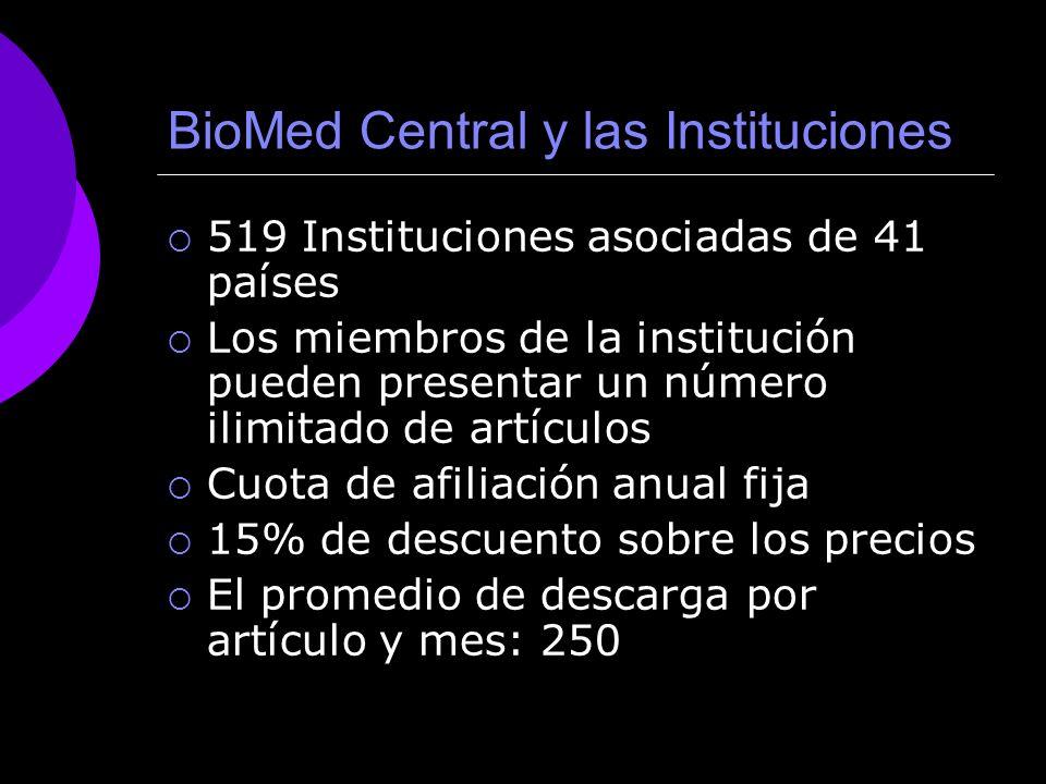 BioMed Central y las Instituciones