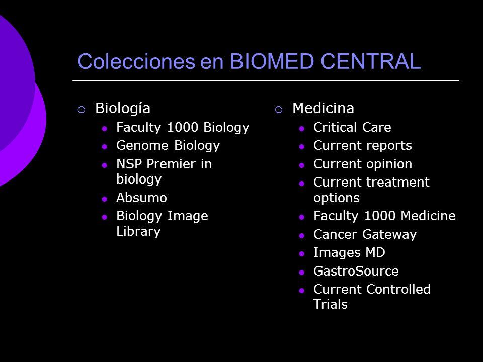 Colecciones en BIOMED CENTRAL
