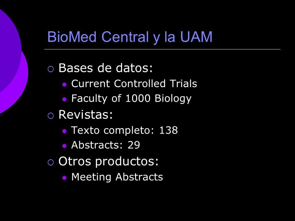 BioMed Central y la UAM Bases de datos: Revistas: Otros productos:
