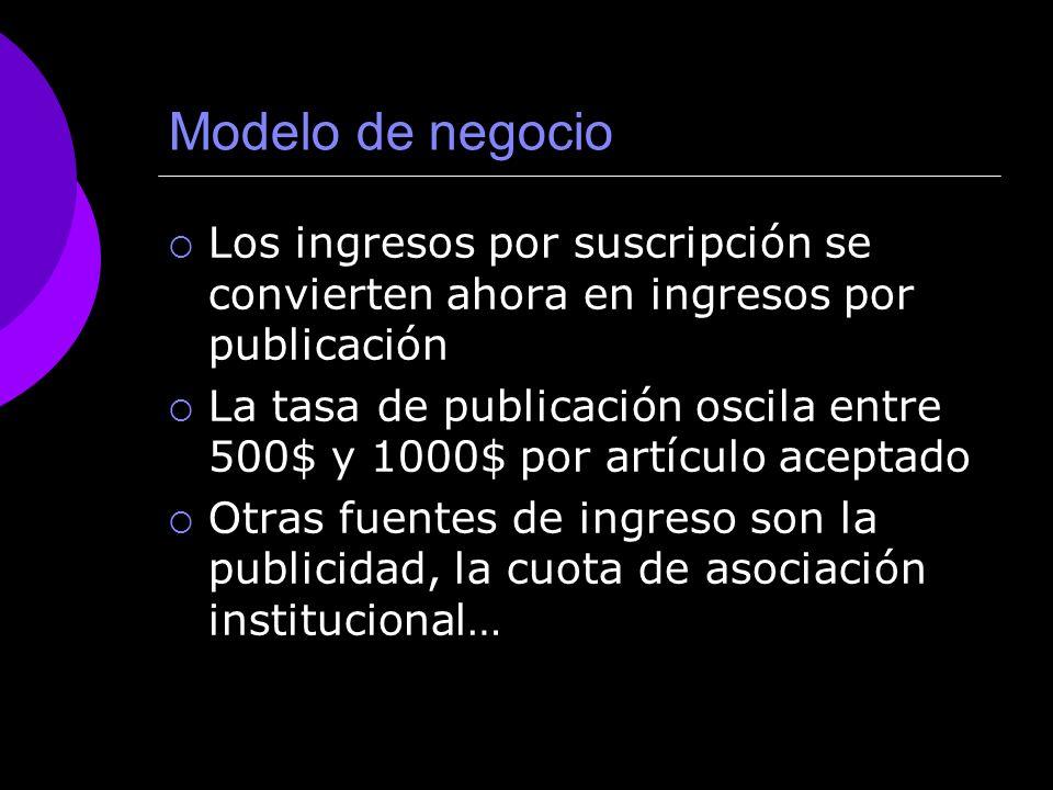 Modelo de negocio Los ingresos por suscripción se convierten ahora en ingresos por publicación.