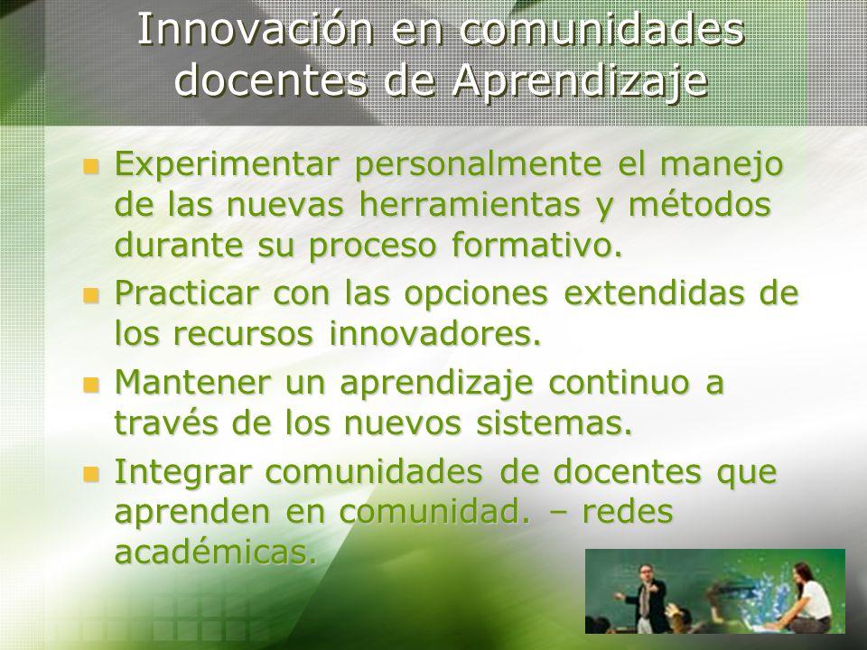 Innovación en comunidades docentes de Aprendizaje