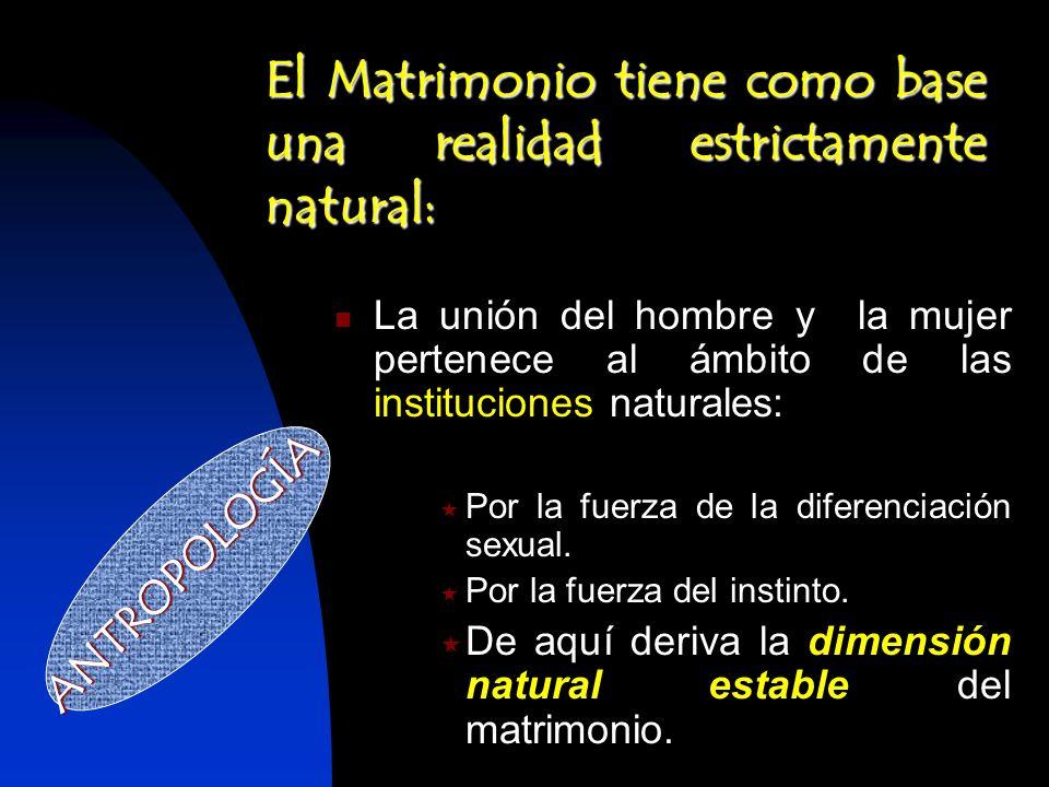 El Matrimonio tiene como base una realidad estrictamente natural: