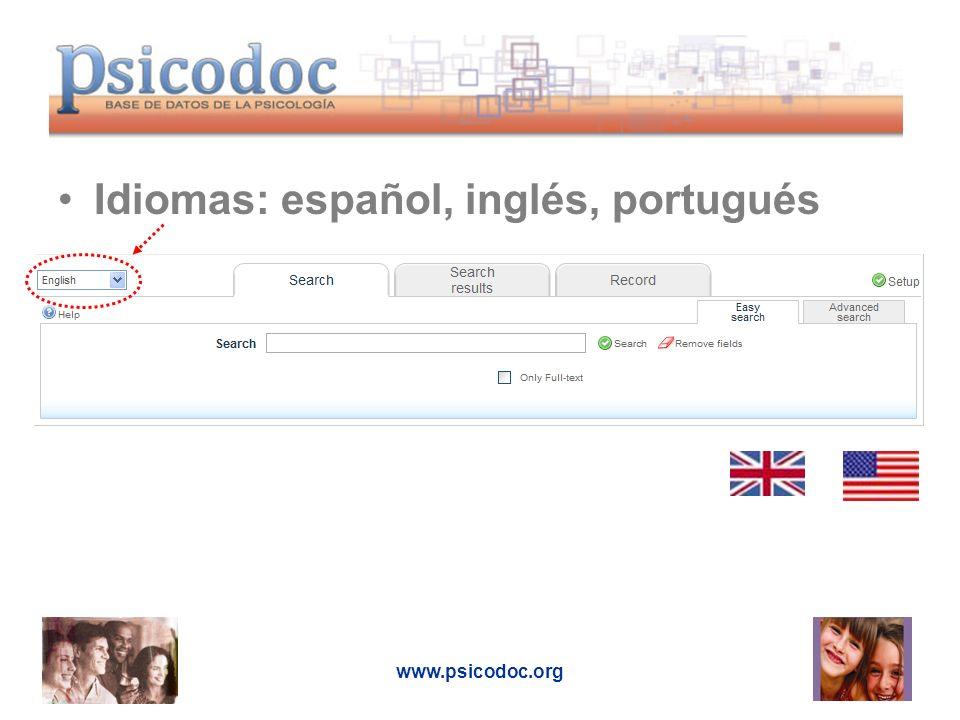 Idiomas: español, inglés, portugués