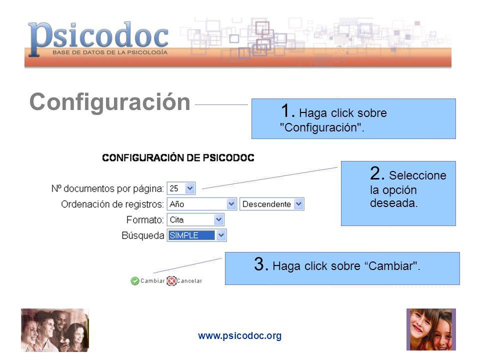 Configuración 1. Haga click sobre Configuración .