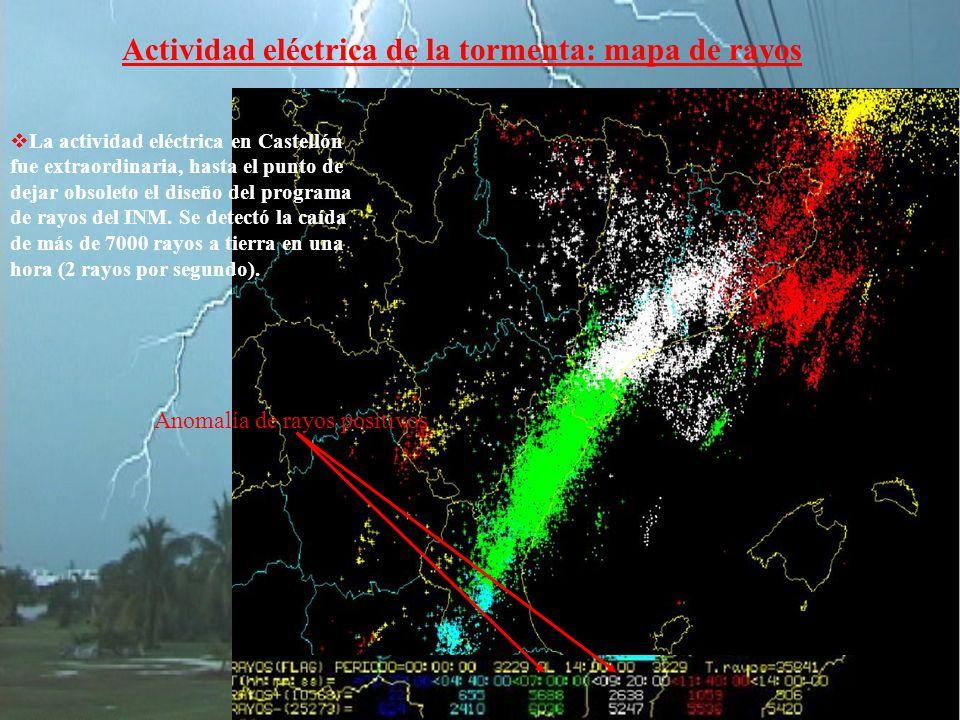 Actividad eléctrica de la tormenta: mapa de rayos