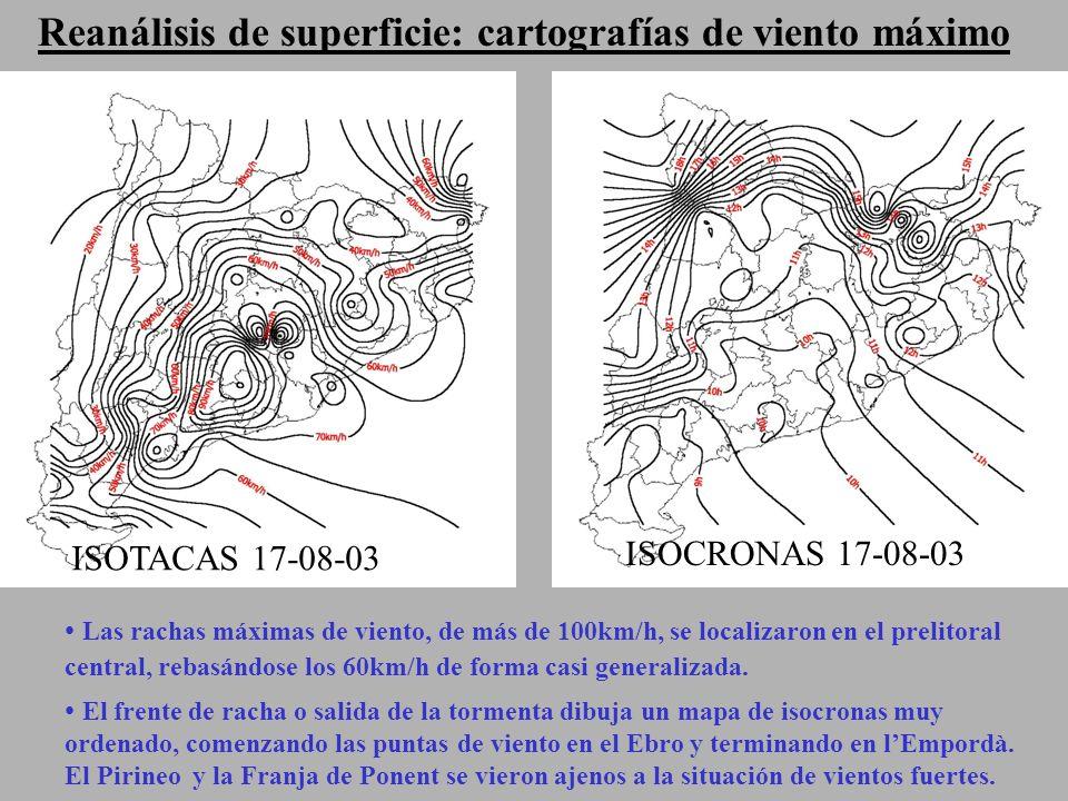 Reanálisis de superficie: cartografías de viento máximo