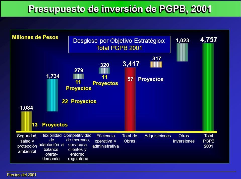 Presupuesto de inversión de PGPB, 2001