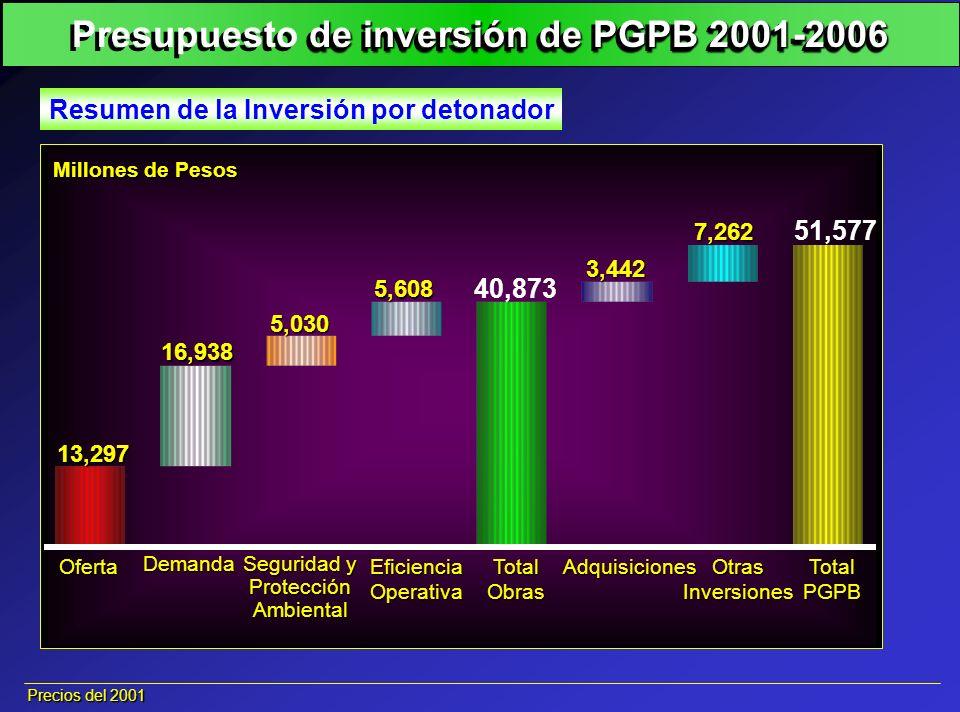 Presupuesto de inversión de PGPB 2001-2006