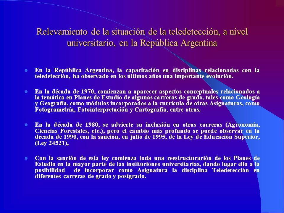Relevamiento de la situación de la teledetección, a nivel universitario, en la República Argentina