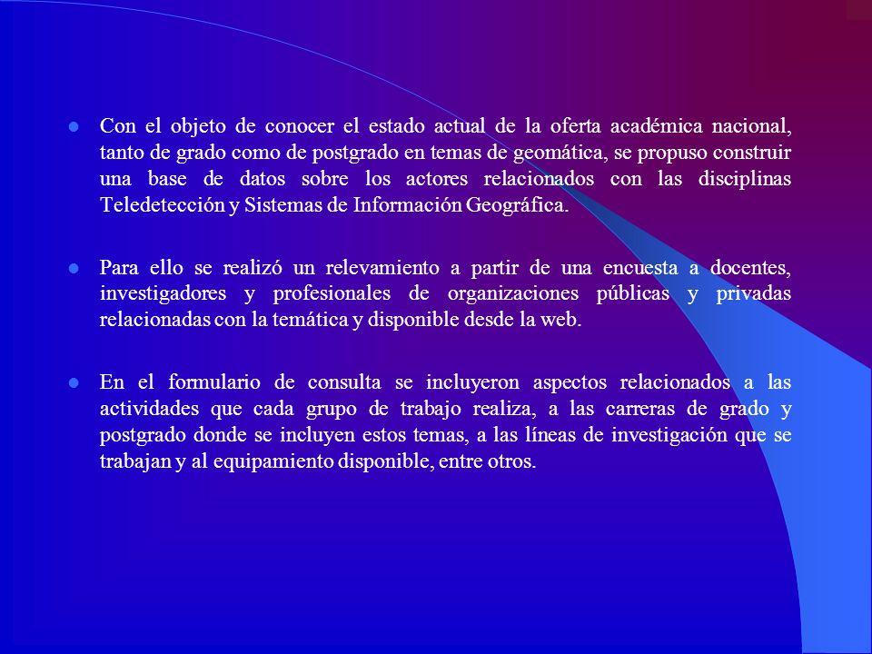 Con el objeto de conocer el estado actual de la oferta académica nacional, tanto de grado como de postgrado en temas de geomática, se propuso construir una base de datos sobre los actores relacionados con las disciplinas Teledetección y Sistemas de Información Geográfica.