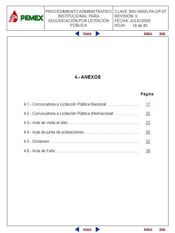 16 de 404.- ANEXOS. Página. 4.1.- Convocatoria a Licitación Pública Nacional............................... 17.
