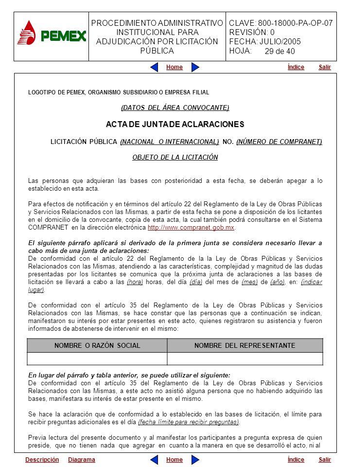 ACTA DE JUNTA DE ACLARACIONES
