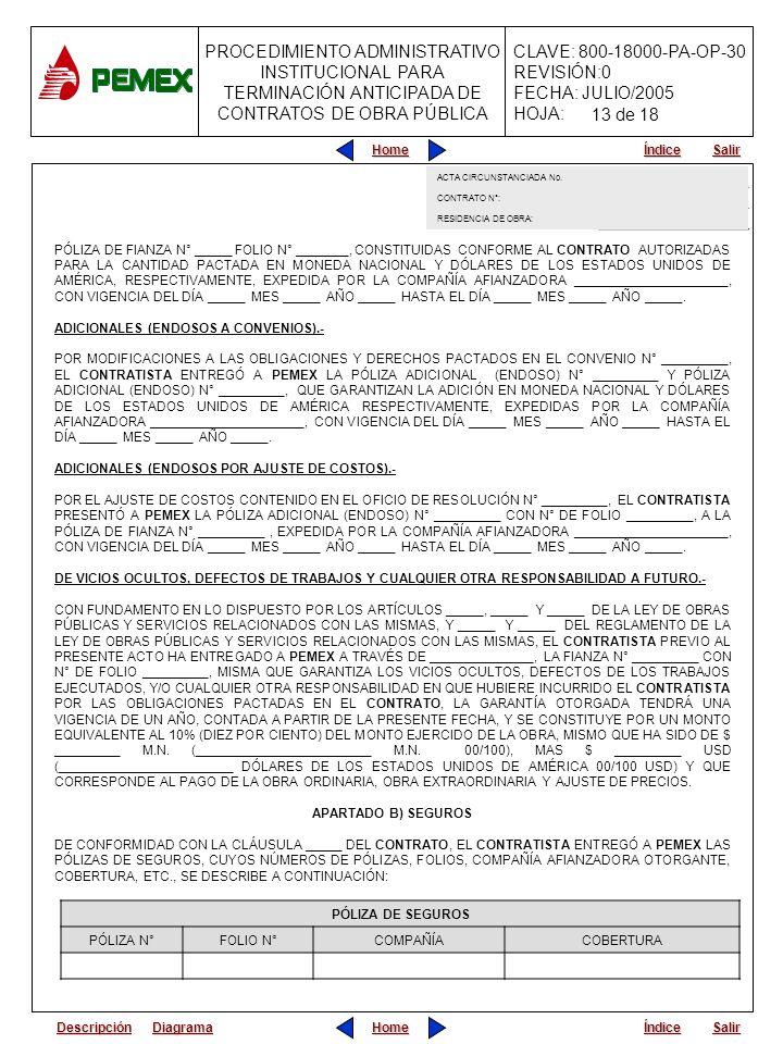 13 de 18ACTA CIRCUNSTANCIADA No. CONTRATO N°: RESIDENCIA DE OBRA: ACTA CIRCUNSTANCIADA. CONTARTO N°