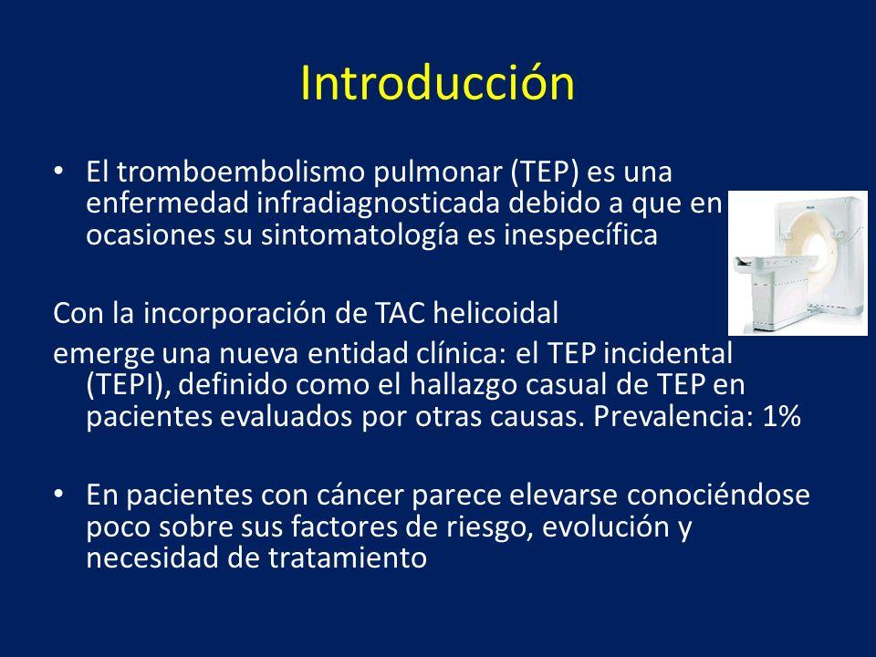 Introducción El tromboembolismo pulmonar (TEP) es una enfermedad infradiagnosticada debido a que en ocasiones su sintomatología es inespecífica.