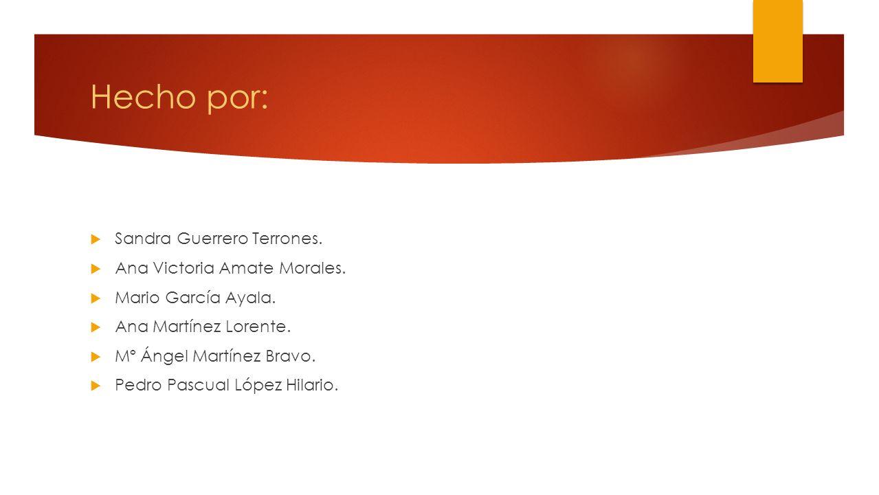 Hecho por: Sandra Guerrero Terrones. Ana Victoria Amate Morales.
