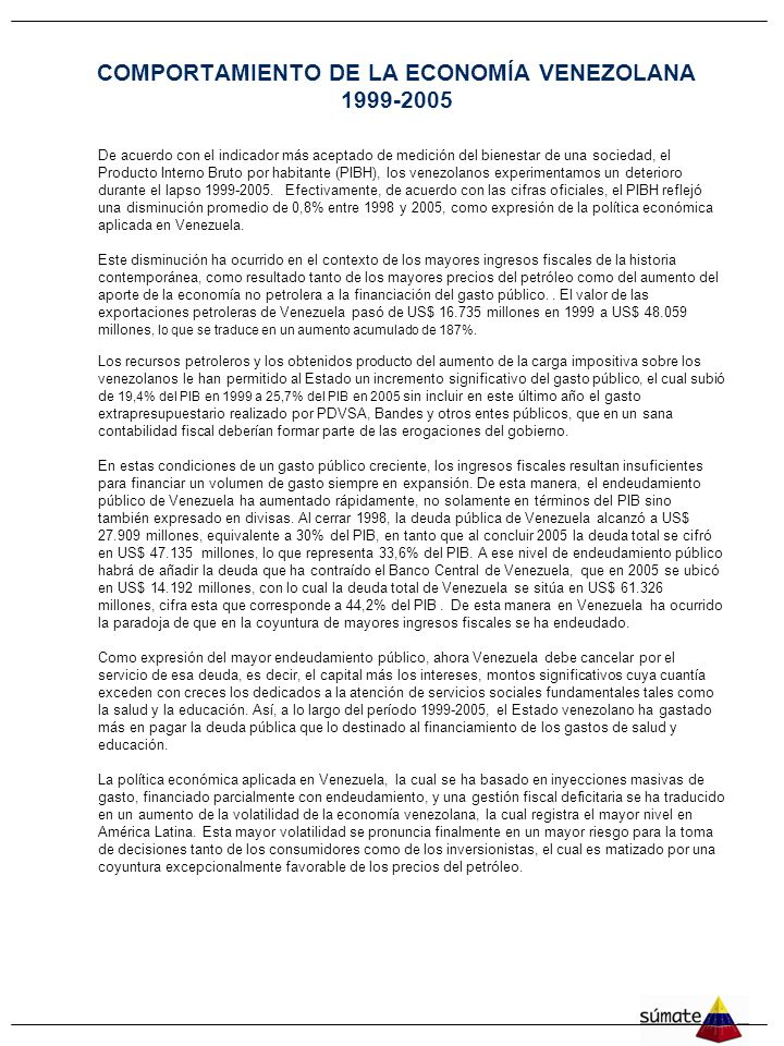 COMPORTAMIENTO DE LA ECONOMÍA VENEZOLANA 1999-2005