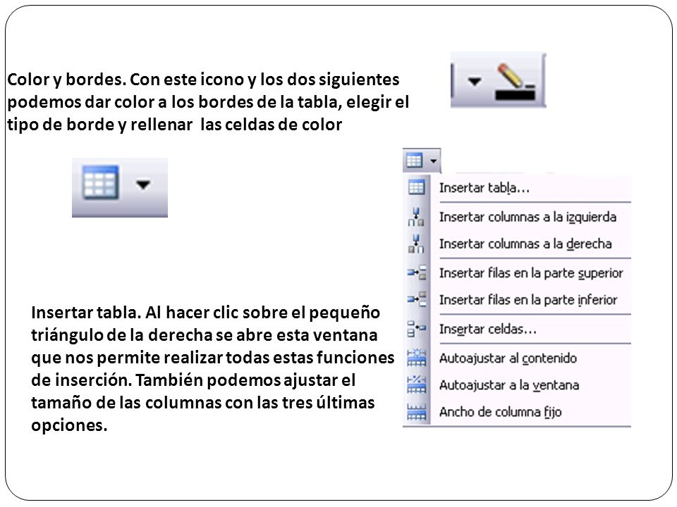 Color y bordes. Con este icono y los dos siguientes podemos dar color a los bordes de la tabla, elegir el tipo de borde y rellenar las celdas de color