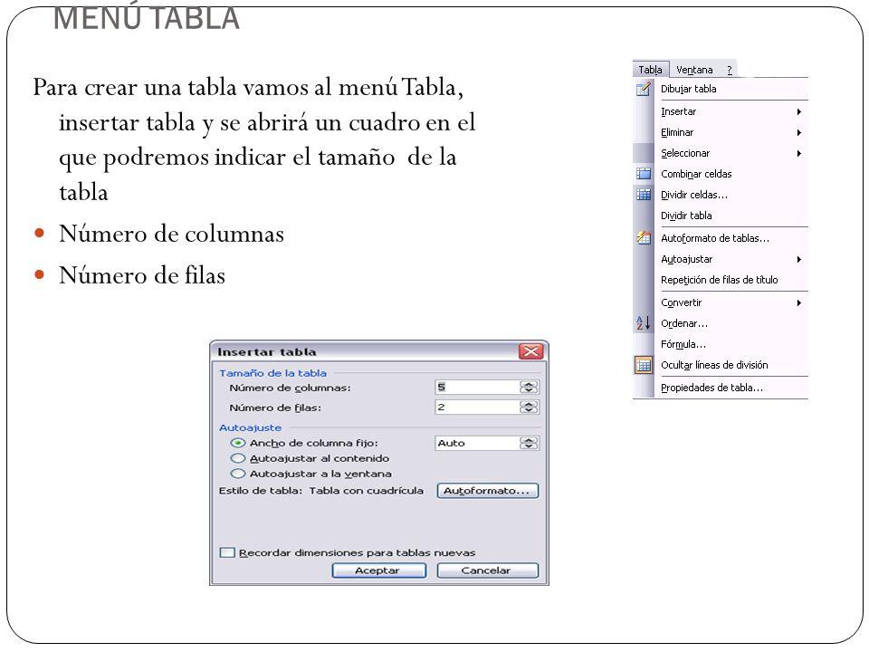 MENÚ TABLA Para crear una tabla vamos al menú Tabla, insertar tabla y se abrirá un cuadro en el que podremos indicar el tamaño de la tabla.