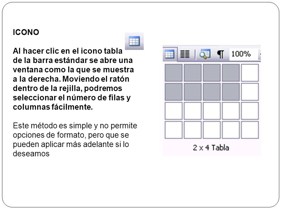 ICONO Al hacer clic en el icono tabla.