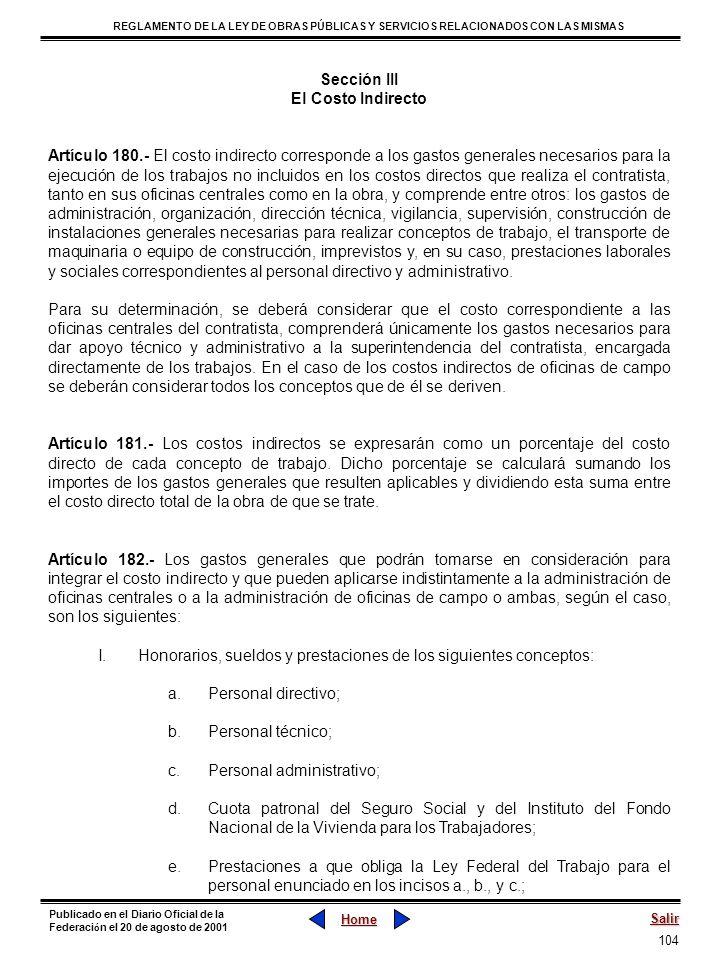 Sección III El Costo Indirecto.