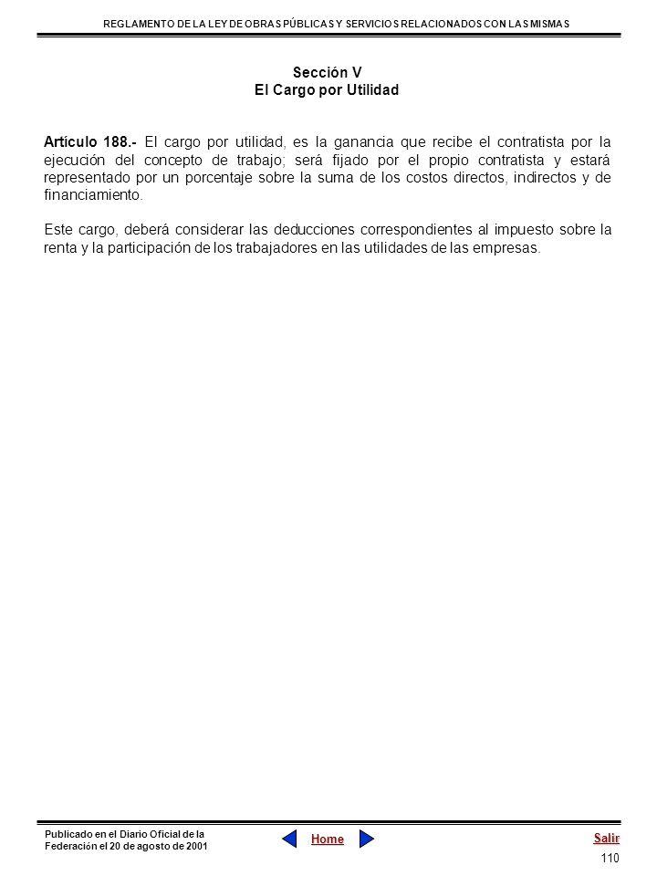 Sección VEl Cargo por Utilidad.