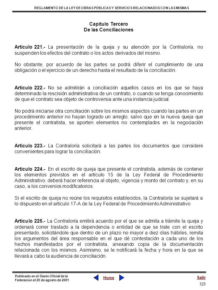 Capítulo Tercero De las Conciliaciones.
