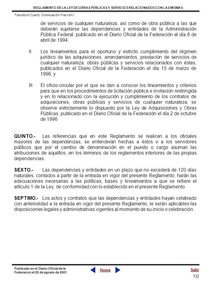 Transitorio Cuarto, Continuación Fracción I.
