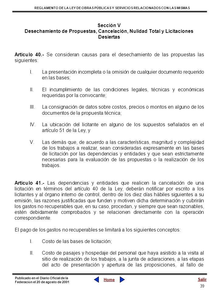 Sección V Desechamiento de Propuestas, Cancelación, Nulidad Total y Licitaciones Desiertas.