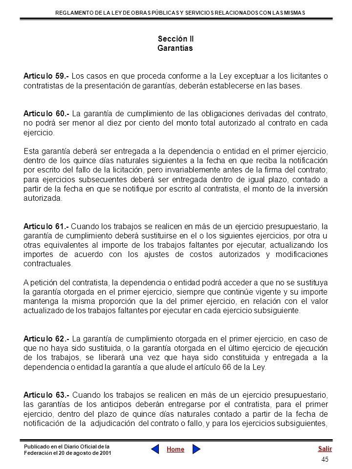 Sección II Garantías.