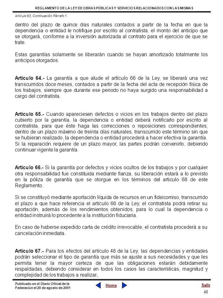 Artículo 63, Continuación Párrafo 1.